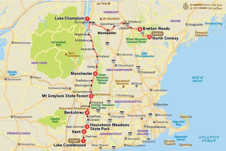 Starts in Connecticut and goes through to NH. Fall foliage tour: the ultimate New England road trip from Lonely Planet