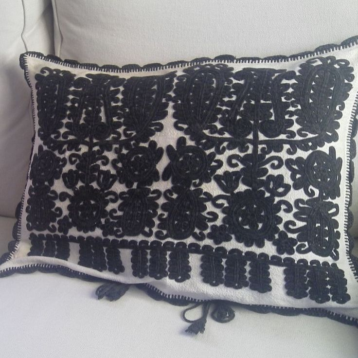 Hand embroidered on home loomed vintage hemp Unusual black embroidery in cotton on a pale home loomed linen hemp Crochet trim This design and style