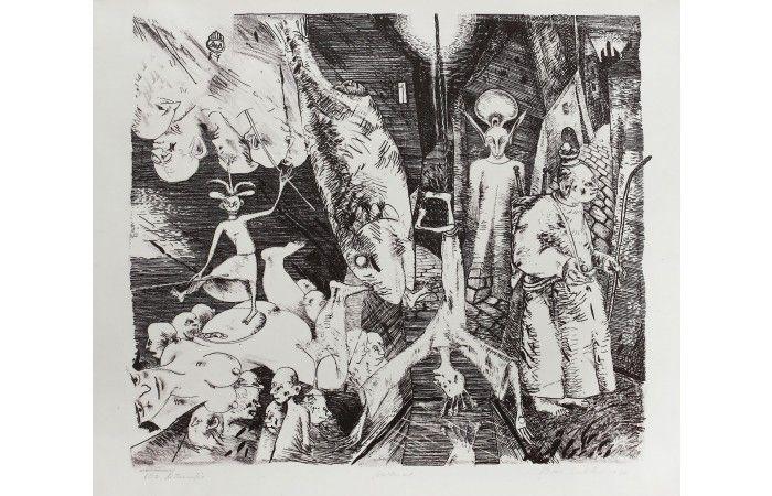 Ştefan Câlţia The Golem  [1987]  Lithography 41.5 × 44.5 cm (16.3 × 17.5 inch) Estimate €300 - €450  http://lavacow.com/the-golem.html