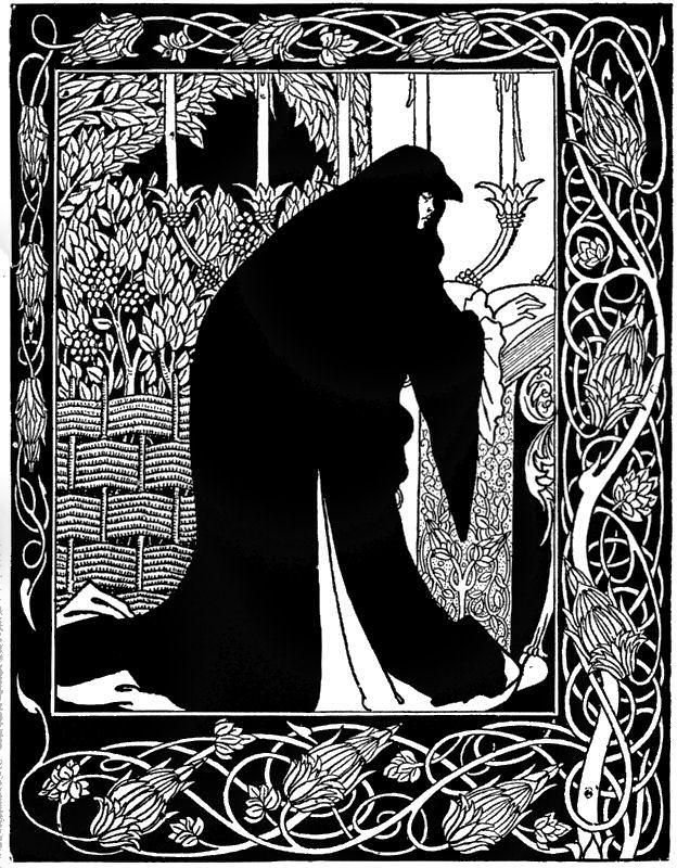 Aubrey Beardsley - Illustration - Art Nouveau -  How Queen Guinevere made her a nun.: