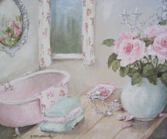 Оригинал Причудливая живописи на холсте - Ванная комната Розы - Почтовые входит Австралия Широкий
