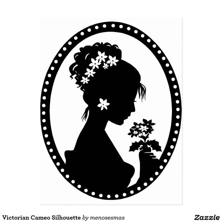 Victorian Cameo Silhouette Postcard Zazzle Com Silhouette Art Silhouette Stencil Art