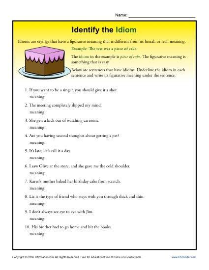 Identify the Idiom - Worksheet Practice Activity - In this colorful worksheet your student will compose sentences with common English idioms. She'll then explain the meaning of each one.