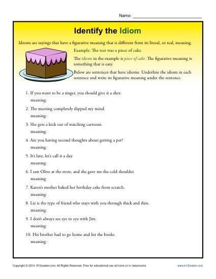 Idiom exercise worksheets
