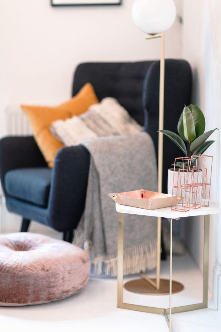 Home Decor | Home interiors | Victorian House Lounge | Victorian House | Velvet Sofa | Mediamarmalade Home | West Elm Hex Side Table