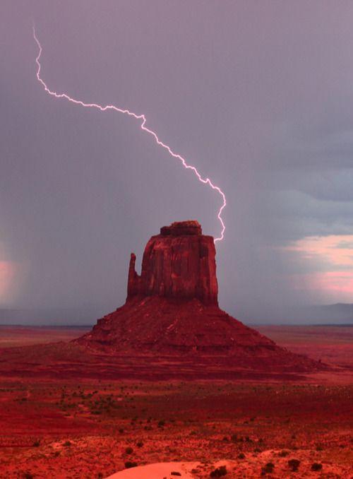 Lightning strike at Monument Valley.