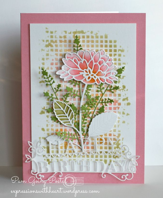 Memory Box dies- Delightful Peony Outline, Delightful Peony Background, Eva Stem and Happy Birthday Extravaganza Memory Box Stencil- Mesh