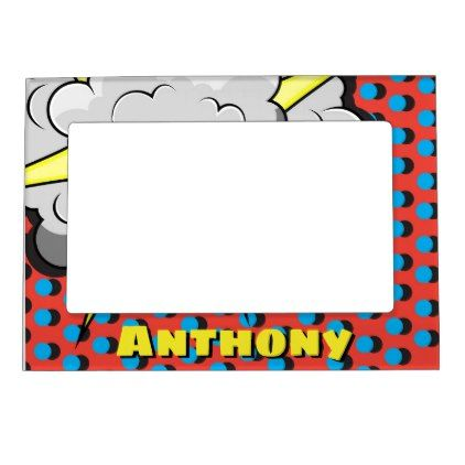 Pop Art Comic Style Explosion Customized Name Magnetic Picture Frame - home gifts cool custom diy cyo