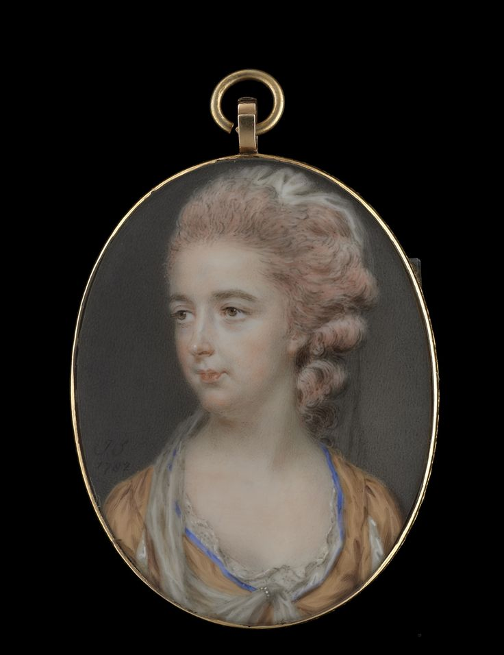 Portrait miniature of a Lady, identified as Harriet Blanshard (née Gale) (1745-1822), wearing low-cut blue trimmed gold dress with lace collar, the sleeves slashed to reveal white, her pink powdered hair worn up and decorated with white gauze hanging behind the neck and around her front, attached at her breast with pearls. Watercolour on ivory, inscribed 'J.S./1782'. Catalogue no.21.