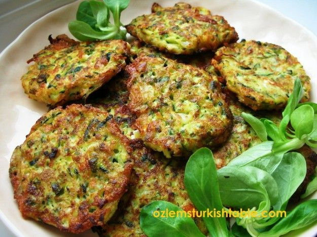 Mucver; zucchini fritters with feta cheese, onion and dill; delicious hot or cold!