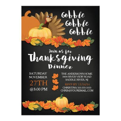 Chalkboard Gobble Turkey Thanksgiving Invitation