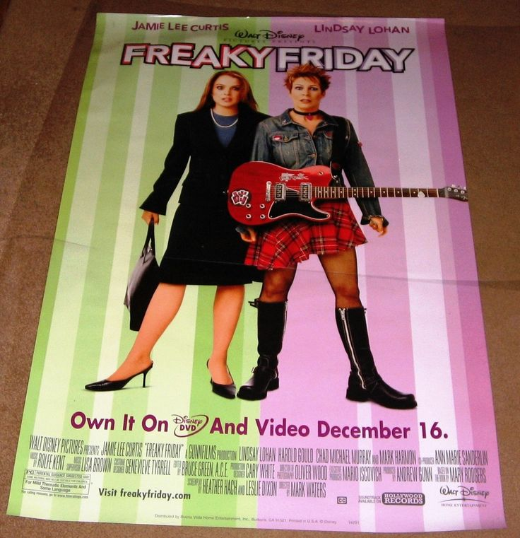 Freaky Friday Movie Poster 27x40 Used Disney Jamie Lee Curtis, Julie Gonzalo, Mark Harmon, Christina Vidal, Stephen Tobolowsky, Dina Waters, Rosalind Chao, Chad Michael Murray, Lindsay Lohan, Lee Burns, Willie Garson, Harold Gould