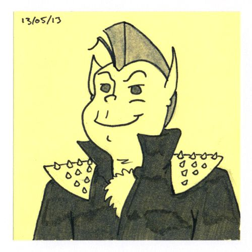 365 #daily #post-it #drawing of a punk devil
