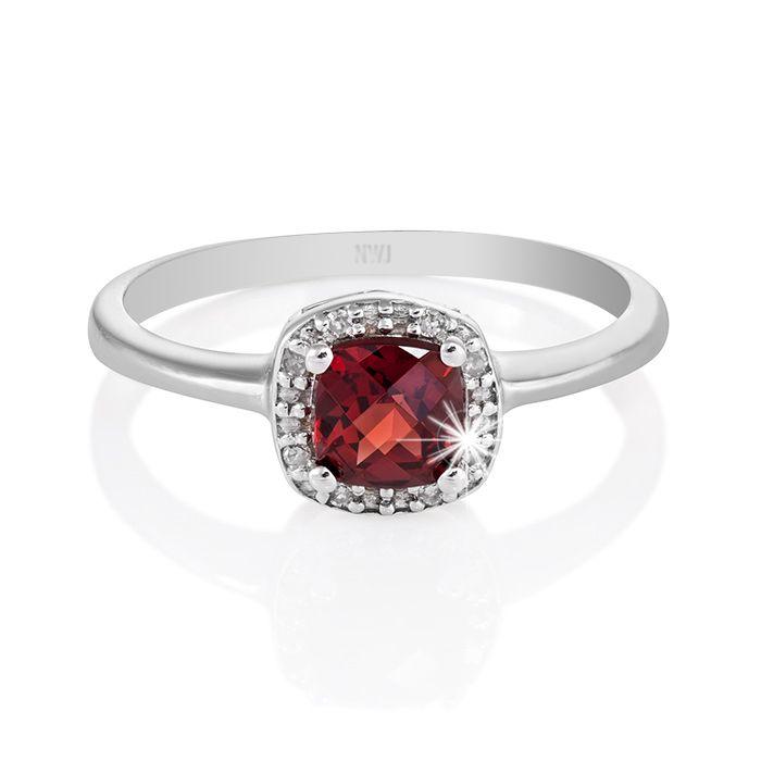 9ct White Gold Garnet and Diamond Ring Image 0