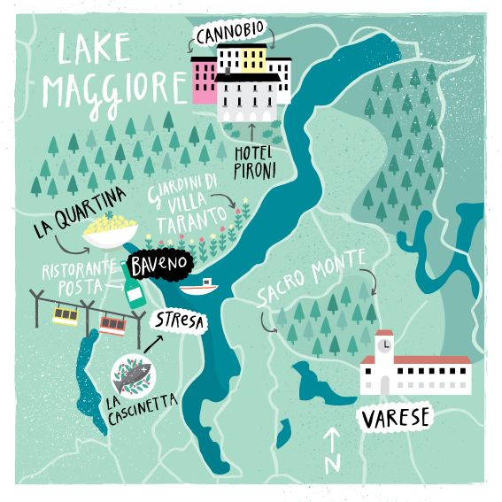 Map of the Lake Maggiore for Cara Magazine, Aer Lingus