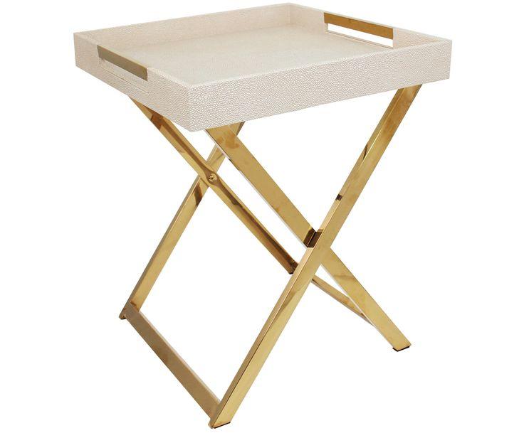Machen Sie Ihr Wohnzimmer Mit Tablett Tisch Emma In Goldfarben Und Beige Zur Wohlfhloase