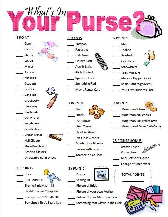 9 Free Printable Bridal Shower Purse Game | visit www.freetemplateideas.com