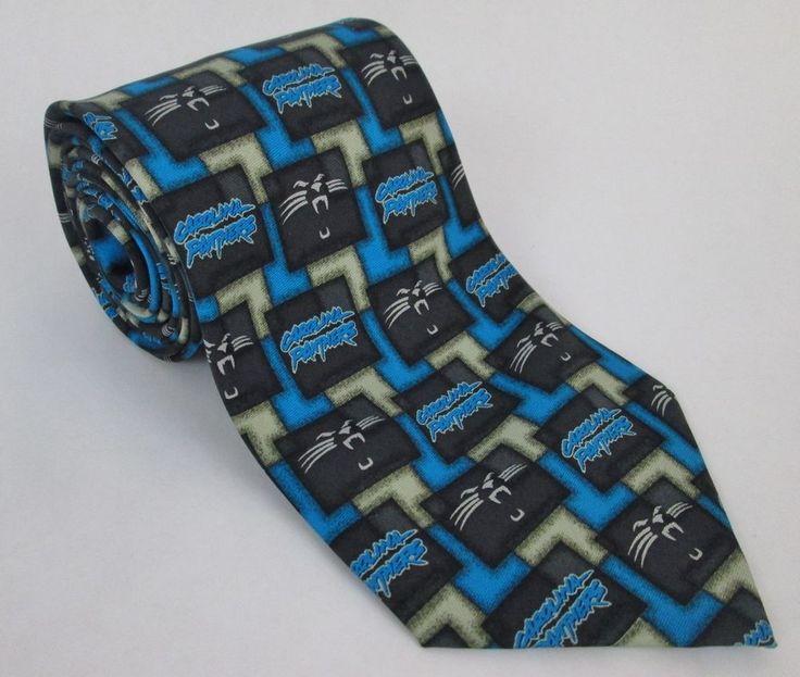 Carolina Panthers 100% Silk Mens Tie NFL 57L x 3.75W NC North Carolina  #NFL #CarolinaPanthers