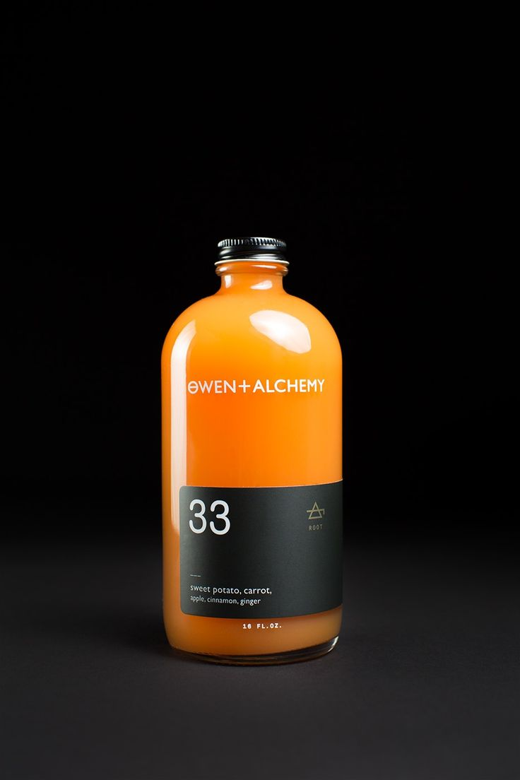 Owen + Alchemy | by Potluck Creative dark label works really well against orange back ground. dark colour also gives feel of authority and more serious