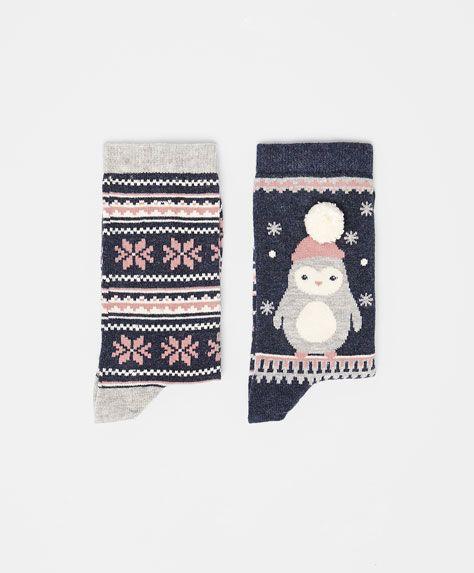 Pack of jacquard penguin socks - OYSHO