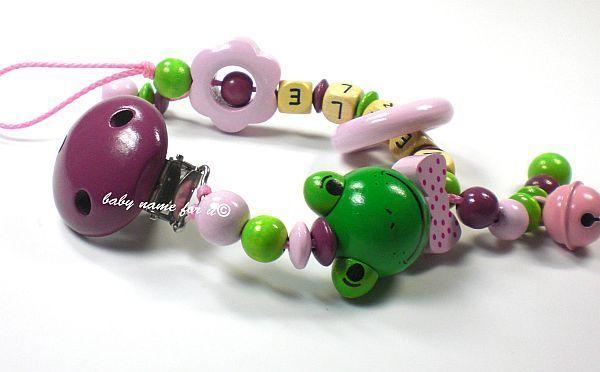 Schnullerkette mit Namen Frosch Girl Schnullerhalter Nuckelkette Premium