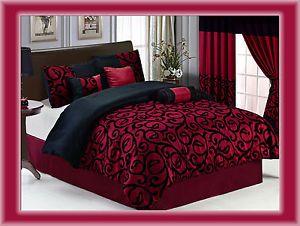 7 Pcs Flocking Paisley Comforter Set Bed In A Bag Queen Burgundy/Black
