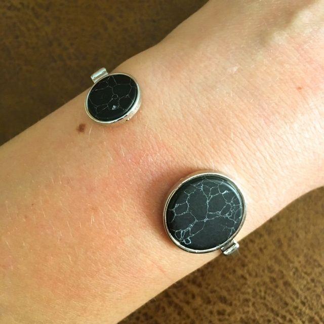 Bangle Armband Steen Rond Zwart