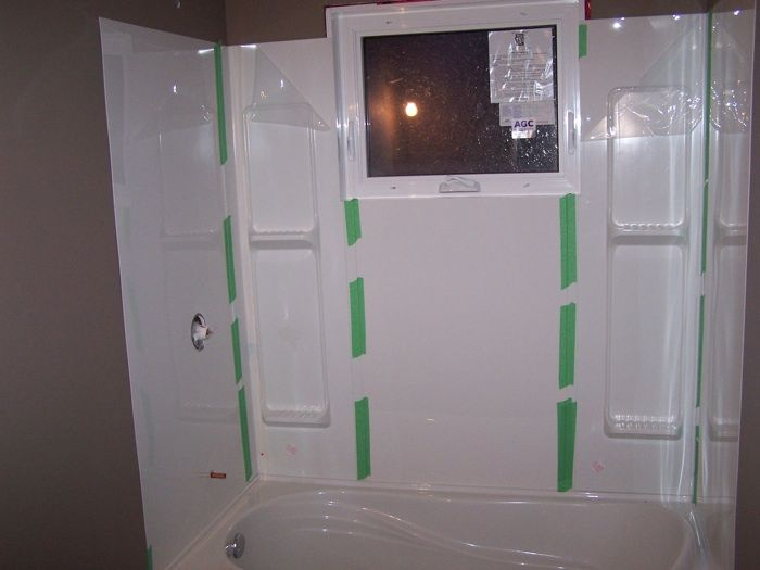 Tub Surround 5 Pieces Installed Taped To Hold It There