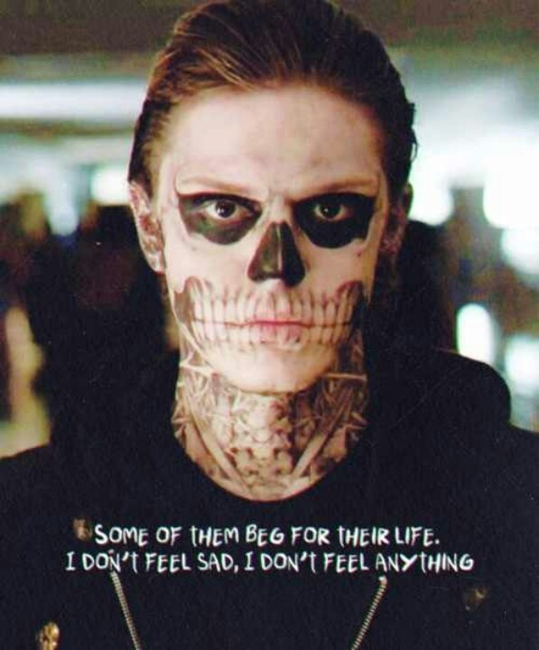 """""""Some of them beg for their life, I don't feel sad, I don't feel anything."""" - Tate, American Horror Story."""