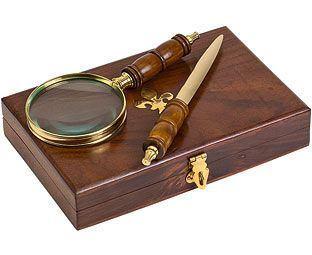 Original Gift Company Magnifier and Letter Opener Set Essential to any bureau, study or home office, this set comes housed in a solid wooden box with a brass fleur-de-lys inlay. Secured by a brass clip, the box opens to reveal a handsome 4x magnifying gl http://www.MightGet.com/february-2017-2/original-gift-company-magnifier-and-letter-opener-set.asp