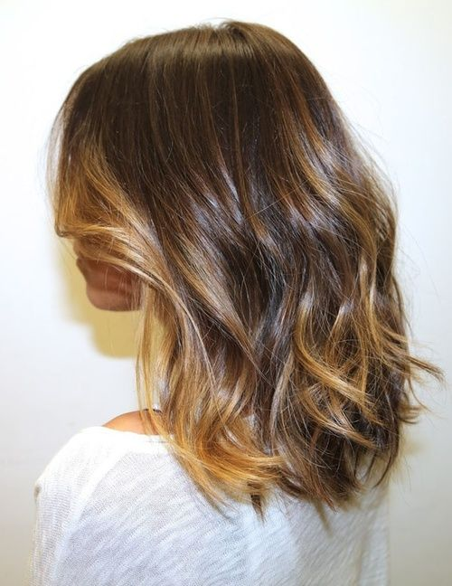 Playful medium length haircut, love this color. this is what i want at this length. the color, style