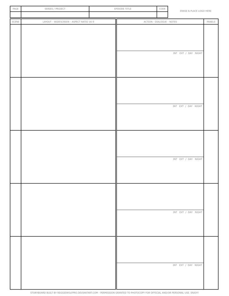 Free Storyboard Template by reggiewolfpro