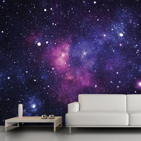 Galaxy wallpaper by Mantiburi...cool for a kids room or even basement (I'd just do the. Ceiling though more than likely) or even as an accent wall???