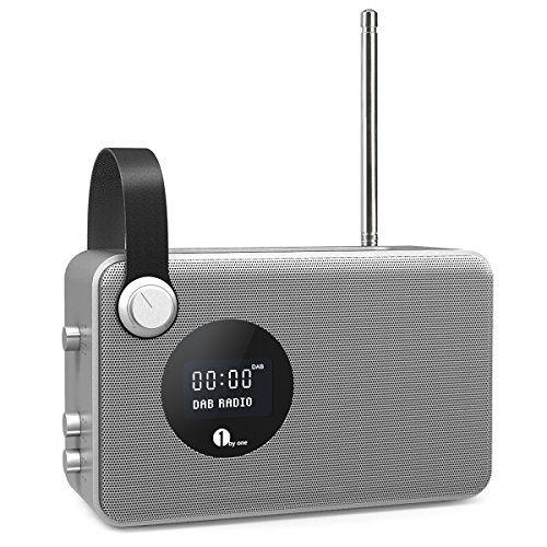 Deals week  1byone Portable Digital DAB / FM Bluetooth Radio with Alarm Clock / FM Tuner / LCD Display Screen / 3.5mm Aux-in Sliver    Grey Best Selling