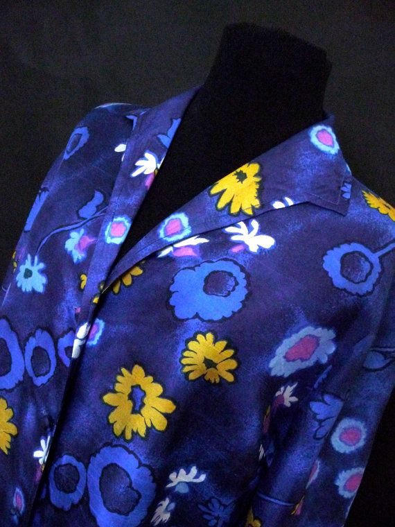 Vintage Blue Foral Pure Silk Shirt Dress 1970s Zora of