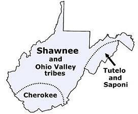 Map of West Virginia tribes in