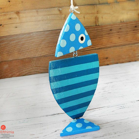 Blue Hanging Fish Paper Mache Fish Handmade Blue Fish Fish