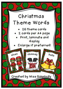 A cute set of 26 common CHRISTMAS  words.* 26 words * great for displays and word walls* can be used for games or oral language work* can be used for literacy centres (ie count the syllables)* can be used for sorting and categorising Words;angel             bells              hambarbeque        bauble          treestocking         candle           carol singerscandy cane     snowman       poinsettiastar               fireplace        milk and biscuits/cookieslights             mistletoe…