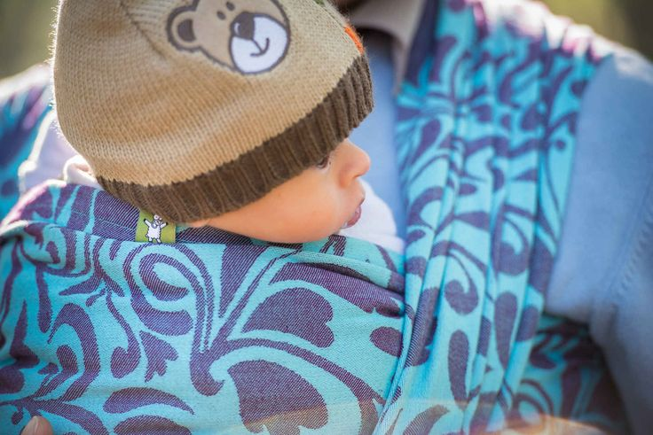 Baby Wrap, Jacquard Weave (100% cotton) - Twisted Leaves Turquoise & Purple - size S - LennyLamb.com