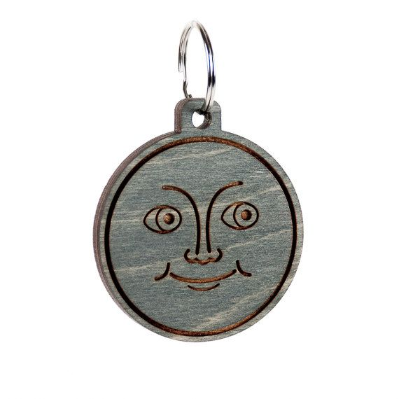 New Moon Emoji Keychain Moon Emoji Carved Wood Key by LadyMaggies