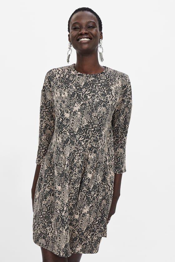 44f75e0211be SNAKESKIN PRINT JACQUARD DRESS | Animal Print | Jacquard dress ...