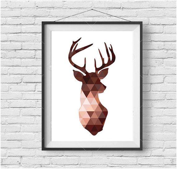 Copper Deer Head Print Brown Deer Wall Art Triangle by PrintAvenue