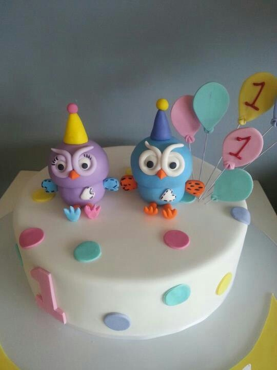Giggle and hoot themed cake with Hootabelle. Too cute for first birthday cake.