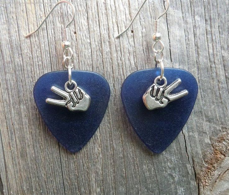 Peace Sign Fingers Charm Guitar Pick Earrings - Pick Your Color