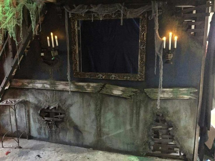 Candle sconces on house sides of mirror Gothic, spooky, love it!