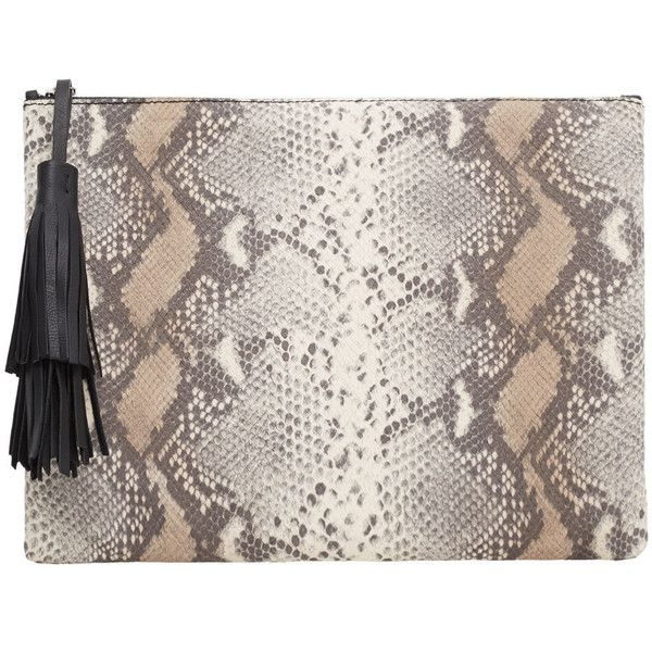 MANGO Snake-Finish Leather Clutch found on Polyvore featuring bags, handbags, clutches, leather handbags, real leather purses, genuine leather purse, leather clutches and 100 leather handbags
