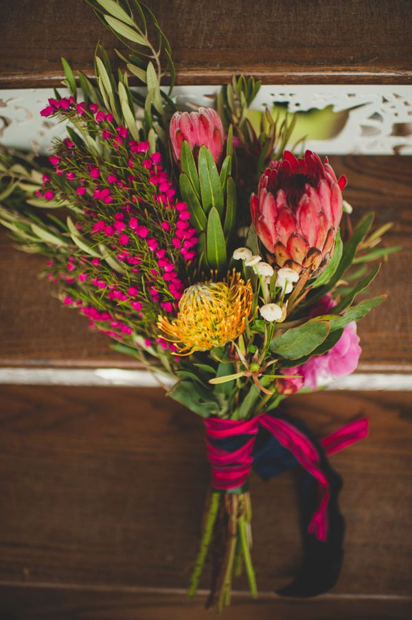 wild protea bouquet, photo by Spindle Photography http://ruffledblog.com/the-notwedding-birmingham #flowers #weddingbouquet
