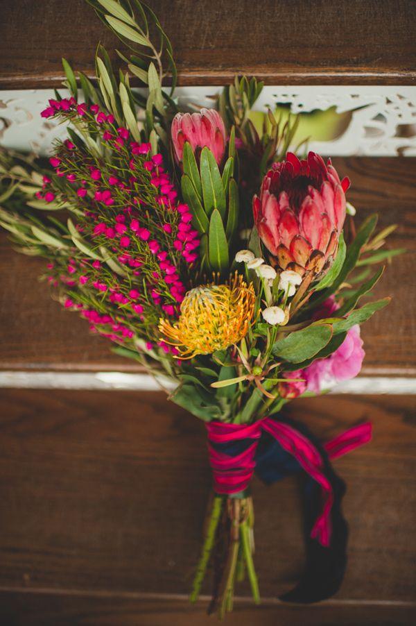 wild protea bouquet, photo by Spindle Photography http://ruffledblog.com/the-notwedding-birmingham #flowers #weddingbouquet