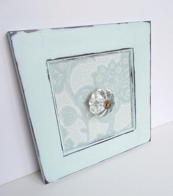 Light Mint Blue/Green Glass Door Knob Hanger Hook by BrushedBureau, $22.00