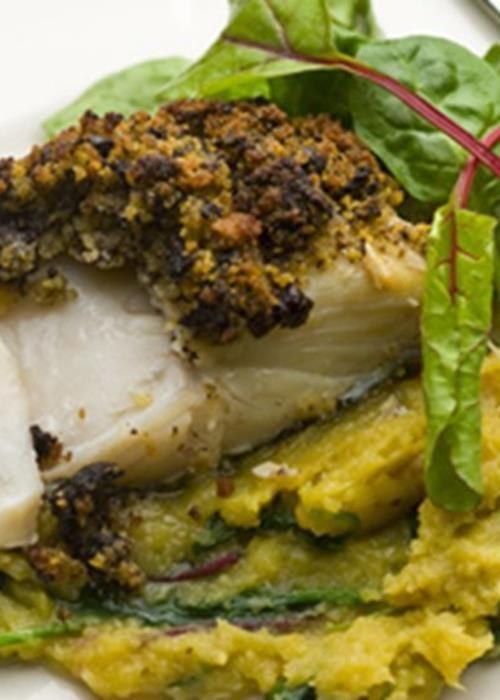 Bacalhau em crosta de morcela com mash de batata doce